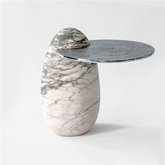 Cosmedin, Egg-shaped hand-carved Breccia Imperiale Stazzema marble block side table with a cast aluminium shelf. H 50 W 43 D 54 cm Edition of 10