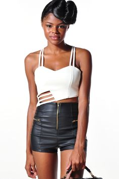 ITS NEW, white cut-out crop top