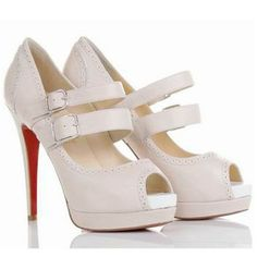 Christian Louboutin Luly Mary Jane Pumps Leather 140mm White