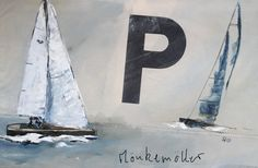 Picture with sailboat - P-BOOT - hand painted original 100 x 60 cm Sailing Pictures, Sailing Regatta, November, Germany, Bullet Journal, Canvas, Etsy, Bielefeld, Sailboat