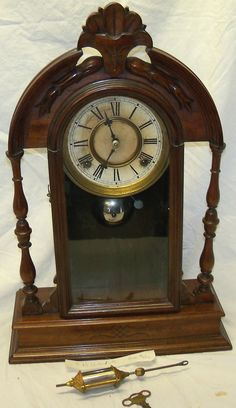 RARE Old Antique E N Welch Carved Mahogany 8 Day Strike Mantel Clock | eBay