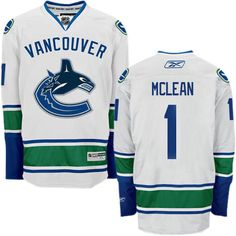 e0c693981 Authentic Kirk Mclean White Men s NHL Jersey   1 Vancouver Canucks Reebok  Away