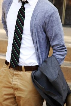 Example of Men's Contemporary Business Casual... The cardigan is a great replacement for the suit jacket sometimes to dress the outfit down.