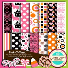 Pink Halloween papers