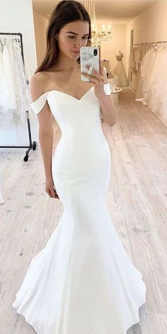 Simple Wedding Dress, Mermaid Wedding Dress, Off Shoulder Wedding Dress sold by joepaldress on Storenvy