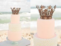 Light Pink cake with white pearl detail and a bronze crown topper.  O-m-g!