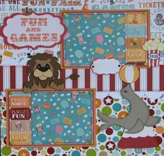 boy girl circus paper piecing premade scrapbook pages | eBay