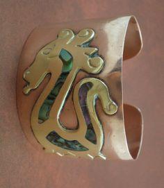 Unique Vintage Copper Brass Abalone Inlay by EntirelyApropos