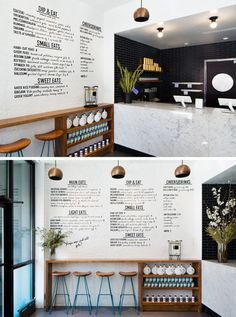 In this small modern restaurant, black subway tiles and a large marble counter create a sophisticated look, while the handwritten menu on the white wall and the natural look of the stools and counter gives the space a casual vibe.