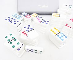 Double Nine Dominoes Set, 55 Color Dot Dominoes for Play or Crafting Measures There are 55 Dominoes in a Double Nine Set and this is a complete double nine set with the extra blank Domino missing for playing Chicken Foot. There are ten suits. A blank, 1, 2, 3, 4, 5, 6, 7, 8, 9.  These are in great condition with vibrant colors.  Best suited for games with 4 to 6 players.  Use for a game room, bar area, family game night. Or for crafting projects, wonderful set of double nine.