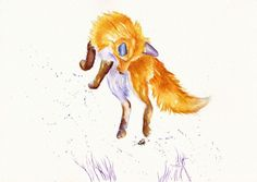 """ORIGINAL WATERCOLOUR PAINTING: FOXES CATS WILDLIFE GreyPepperArt:  """"BEE LEAPING"""""""