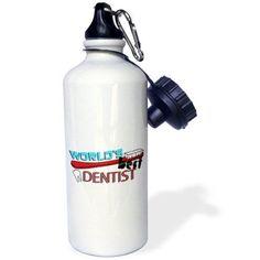3dRose Worlds Best Dentist, Sports Water Bottle, 21oz, White