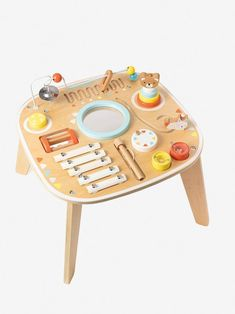 Activity Table & Musical Development - beige medium solid with decor, Toys Diy Sensory Board, Baby Sensory, Sensory Toys, Wooden Puzzles, Wooden Toys, Baby Activity, Bebe 1 An, Diy Wooden Projects, Tie Shoelaces