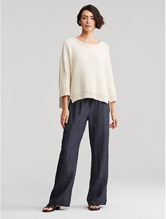 Eileen Fisher Organic Linen Delave Wide-Leg Pant