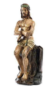 Höhe: 57 cm. Breite: ca. 19 cm. Oberrhein/ Schwaben, ausgehendes 15. Jahrhundert. Schnitzfigur, Lindenholz, gefasst. Die Jesusfigur auf einem Podest sitzend...