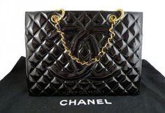 Chanel Jumbo Black Patent Leather Gst Grand Shopper Tote Bag