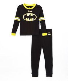 Batman Black Long-Sleeve Pajama Set - Toddler & Boys