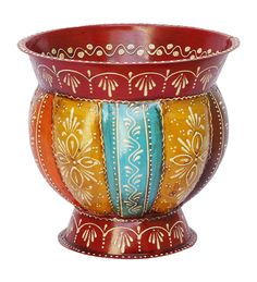 "Bulk Wholesale Handmade Pumpkin Shaped 7.4"" Flower Vase / Planter in Iron Enhanced with Ribbed Pattern & Old World Cone-Painting Art in Red & Many More Bright Colors – Antique-Look Home Décor from India"