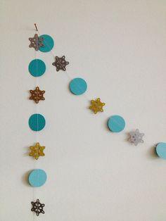 Golden Snowflake winter paper garland Christmas decoration by GrayDayStudio,