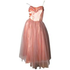 Preowned 1950s Tulle And Satin Dress With Jacket ($450) ❤ liked on Polyvore featuring dresses, vintage dresses, brown, cocktail dresses, satin dress, polka dot cocktail dress, brown polka dot dress, brown cocktail dress and red polka dot dresses