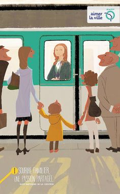 Illustrations by Tadahiro Uesugi (Coraline designer) for french RATP campaign (Paris public transports).