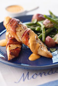 Bacon-Wrapped Chicken Breasts with Chile Cheese Sauce
