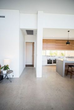 *Polished Concrete* Red Tail Homes Sleek Concrete Kitchen Home, Timber Kitchen, Kitchen Models, Concrete Kitchen Floor, New Homes, House, Polished Concrete, House Flooring, Concrete Floors