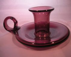 Vintage Purple Amethyst Blown Glass Candle Stick with Handle