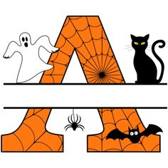Free Halloween Monogram Clip art Alphabet letters that you can personalize with your name. Halloween Letters, Halloween Stencils, Halloween Clipart, Halloween Crafts, Holiday Crafts, Halloween Party, Printable Pumpkin Carving Patterns, Pumpkin Carving Stencils Free, Pumpkin Template
