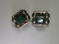 Vintage Sterling Silver Screwback Earrings, Mexico, Green, Half-Ball Accents #signedmexicohandmade