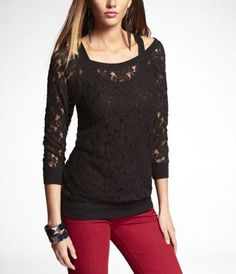 BRUSHED LACE TEE at Express