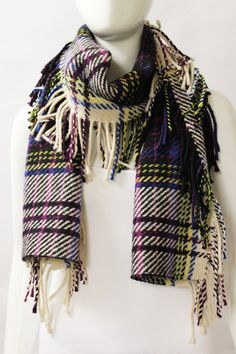 Burberry Purple Plaid Cashmere Wool Fringe Scarf