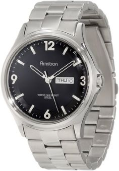 Men's Wrist Watches - Armitron Mens 204847BKSV Stainless Steel SilverTone Black Dial Bracelet Watch *** Be sure to check out this awesome product.