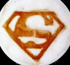 :*¨¨*:·. Coffee ♥ Art.·:*¨¨*: Superman latte! Mmmmm. I'll drink to that.  ;D LO