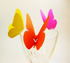 Butterfly Wine Glass Toppers Place Cards by QueenBeeInspirations, $37.50