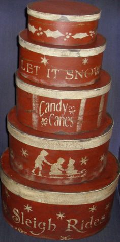 Paper Mache Red Christmas Sleigh Ride  Boxes by hanwaymillhouse, $125.00