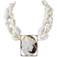 Preowned Italian Shell Cameo And Tahitian Baroque Pearl Necklace ($15,500) ❤ liked on Polyvore featuring jewelry, necklaces, multiple, 18 karat gold jewelry, shell cameo jewelry, handcrafted necklaces, cameo jewelry and 18 karat gold necklace
