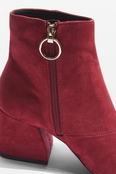 Burgundy micro suede ankle boots