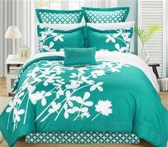 Chic Home Ayesha Comforter Bed in a Bag Set (Turquoise-Queen), Turquois. Chic Home Ayesha Comforter Bed in a Bag Set (Turquoise-Queen), Turquoise Elegant Comforter Sets, Floral Comforter, Queen Comforter Sets, Bedding Sets, Turquoise Comforter, King Comforter, Green Comforter, Navy Bedding, Bed In A Bag