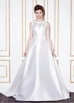 STUNNING SATIN BATEAU NECKLINE NATURAL WAISTLINE A-LINE WEDDING DRESS SEXY FORMAL PROM EVENING PARTY BRIDAL GOWN CUSTOM