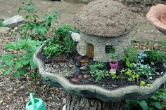 A fairy house molded in a bucket!  @Robin S. Phillips-Knotts