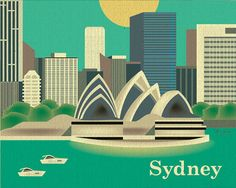 Sydney Australia Skyline City Destination Poster by loosepetals, $26.00 ETSY