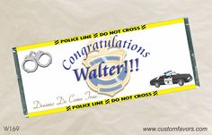 Personalized candy bar wrappers for a Police Graduation celebration from #graduation #grad #personalizedbars #chocolate #policeacademy www.customfavors.com.