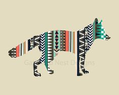 Mr. Fox Tribal Art Print - 11x14 - Woodland Animal - Native American - Aztec
