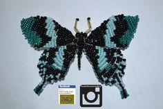 blue & black butterfly hair clip £6.50 order yours now! @ https://www.facebook.com/HandMadeBeadLoomJewellery #fashion #bracelet #jewellery #buy #handmade #round #3dbeading