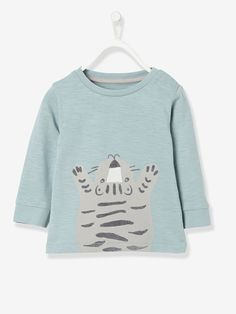 Camiseta para bebé niño con motivo de tigre flocado - Azul - 1