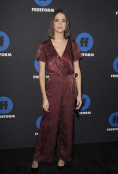 0ebec76768ad Spott - Maia Mitchell at the red carpet wearing a striped jumpsuit by J.O.A.