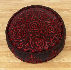 Black Round Embroidered Pillow mediterranean pillows