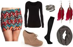 fall skirt outfits   How to wear aztec and tribal prints: Printed skirt, black top, ankle ...
