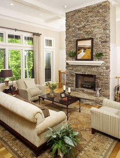 The Laurelwood Plan 5024 http://www.dongardner.com/plan_details.aspx?pid=3232. Overflowing with details, this home features all of the niceties that enhance family life. #GreatRoom #Fireplace #Design